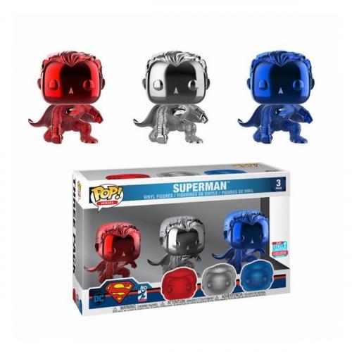 Funko Pop Justice League pack 3 figurines POP! Vinyl Superman (Landing) (Chrome) Fall Convention 2018 9 cm